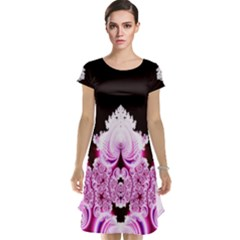 Fractal In Pink Lovely Cap Sleeve Nightdress