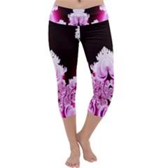 Fractal In Pink Lovely Capri Yoga Leggings