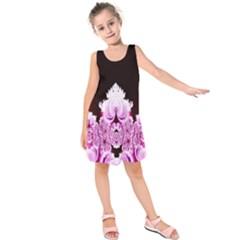 Fractal In Pink Lovely Kids  Sleeveless Dress