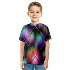 Soft Balls In Color Behind Glass Tile Kids  Sport Mesh Tee