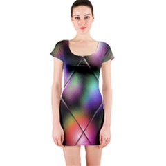 Soft Balls In Color Behind Glass Tile Short Sleeve Bodycon Dress