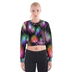 Soft Balls In Color Behind Glass Tile Women s Cropped Sweatshirt