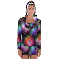 Soft Balls In Color Behind Glass Tile Women s Long Sleeve Hooded T Shirt