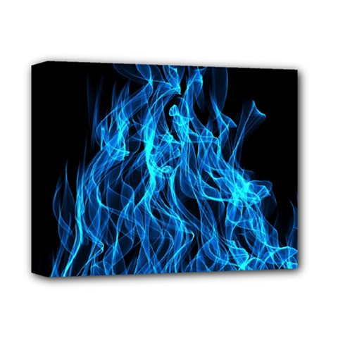 Digitally Created Blue Flames Of Fire Deluxe Canvas 14  x 11