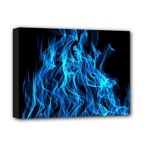 Digitally Created Blue Flames Of Fire Deluxe Canvas 16  x 12