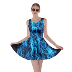 Digitally Created Blue Flames Of Fire Skater Dress