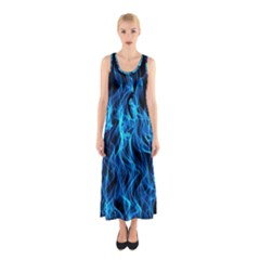 Digitally Created Blue Flames Of Fire Sleeveless Maxi Dress