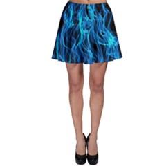 Digitally Created Blue Flames Of Fire Skater Skirt