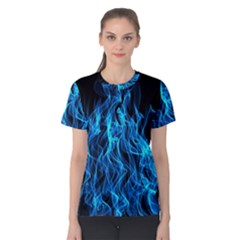 Digitally Created Blue Flames Of Fire Women s Cotton Tee