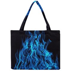 Digitally Created Blue Flames Of Fire Mini Tote Bag