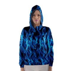 Digitally Created Blue Flames Of Fire Hooded Wind Breaker (women)