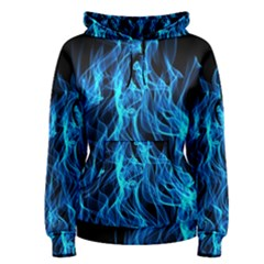 Digitally Created Blue Flames Of Fire Women s Pullover Hoodie