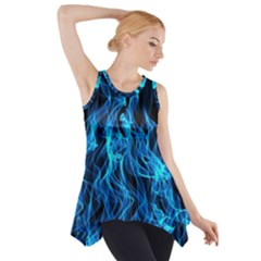 Digitally Created Blue Flames Of Fire Side Drop Tank Tunic
