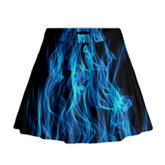 Digitally Created Blue Flames Of Fire Mini Flare Skirt