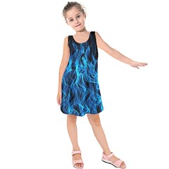 Digitally Created Blue Flames Of Fire Kids  Sleeveless Dress