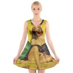 Pin up girl  V-Neck Sleeveless Skater Dress