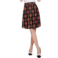 Dollar Sign Graphic Pattern A-Line Skirt