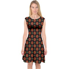 Dollar Sign Graphic Pattern Capsleeve Midi Dress