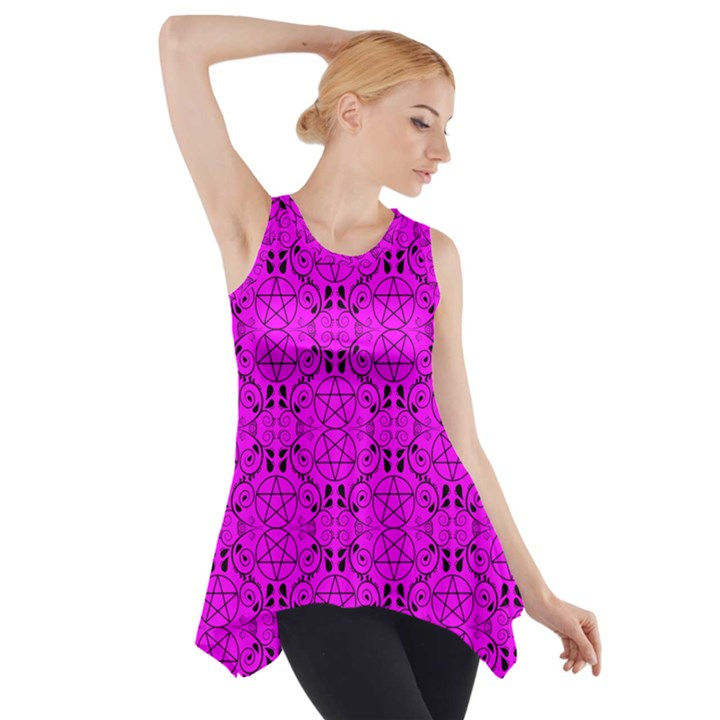 Hot Pink with Black Pagan Pentacles Wiccan Side Drop Tank Tunic