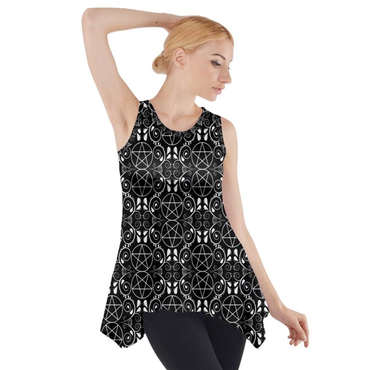Black with White Pagan Pentacles Wiccan Side Drop Tank Tunic