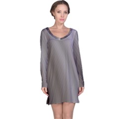 Fractal Background With Grey Ripples Long Sleeve Nightdress