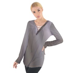 Fractal Background With Grey Ripples Women s Tie Up Tee