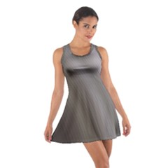 Fractal Background With Grey Ripples Cotton Racerback Dress