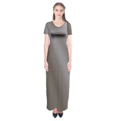 Fractal Background With Grey Ripples Short Sleeve Maxi Dress