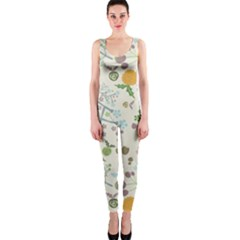 Floral Kraft Seamless Pattern OnePiece Catsuit