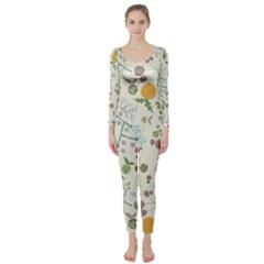 Floral Kraft Seamless Pattern Long Sleeve Catsuit