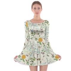 Floral Kraft Seamless Pattern Long Sleeve Skater Dress