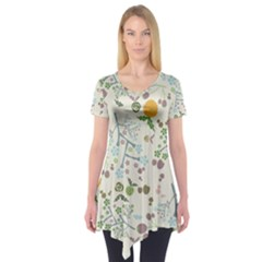 Floral Kraft Seamless Pattern Short Sleeve Tunic