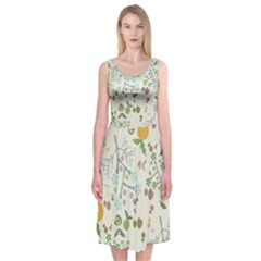 Floral Kraft Seamless Pattern Midi Sleeveless Dress