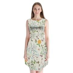Floral Kraft Seamless Pattern Sleeveless Chiffon Dress