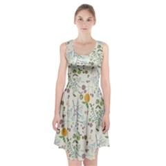 Floral Kraft Seamless Pattern Racerback Midi Dress