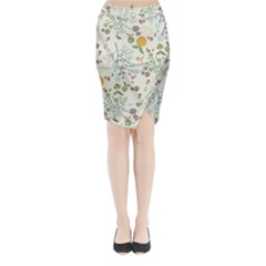 Floral Kraft Seamless Pattern Midi Wrap Pencil Skirt