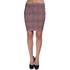 Squares Red Background Bodycon Skirt