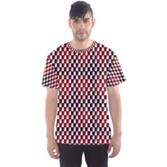 Squares Red Background Men s Sport Mesh Tee