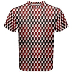 Squares Red Background Men s Cotton Tee