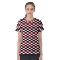 Squares Red Background Women s Cotton Tee