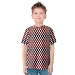 Squares Red Background Kids  Cotton Tee