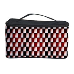 Squares Red Background Cosmetic Storage Case