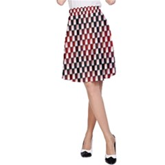 Squares Red Background A-Line Skirt