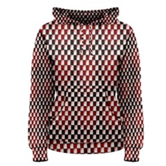 Squares Red Background Women s Pullover Hoodie