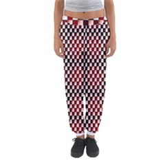 Squares Red Background Women s Jogger Sweatpants