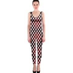 Squares Red Background OnePiece Catsuit