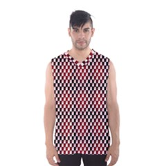 Squares Red Background Men s Basketball Tank Top