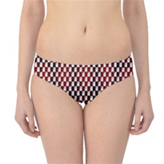 Squares Red Background Hipster Bikini Bottoms