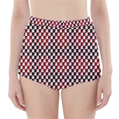 Squares Red Background High-Waisted Bikini Bottoms