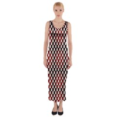 Squares Red Background Fitted Maxi Dress